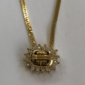 Vintage Givenchy LOGO Crystal Necklace